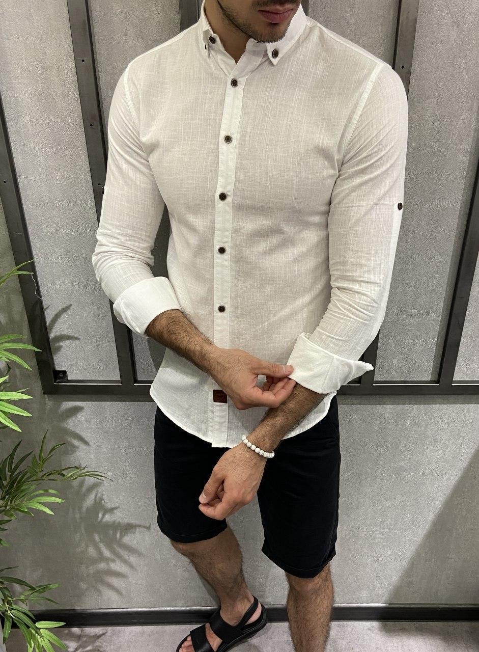 Сорочка чоловіча біла льон