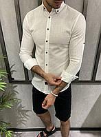 Рубашка мужская белая лен