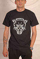 Черная футболка Юность с котом, фото 1