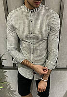 Рубашка мужская белая в серую полоску лен, фото 1