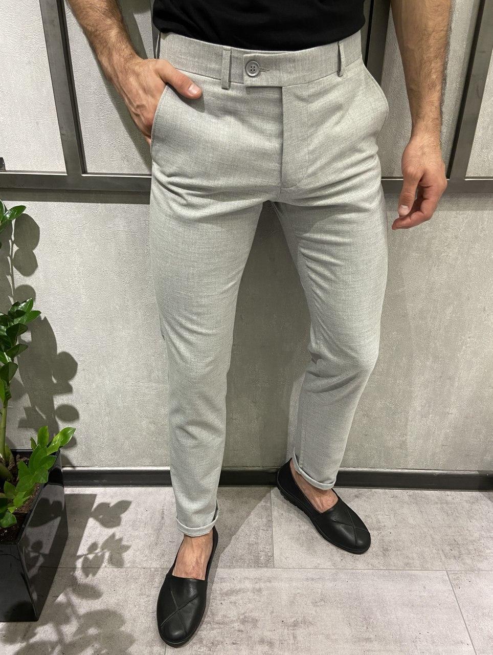 Чоловічі штани світло-сірі 18891
