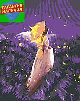 Картина по номерам Девушка в поле (цветной холст) 40*50см Розпис по номерах