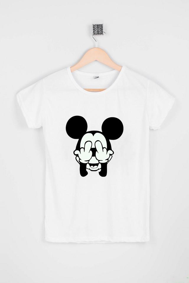 Женская белая футболка с Микки Маус
