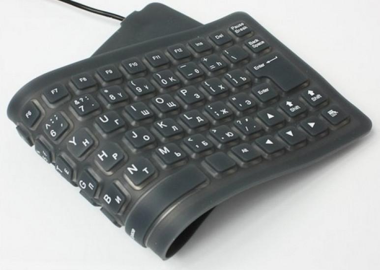 Cупертонкая резиновая гибкая USB-клавиатура