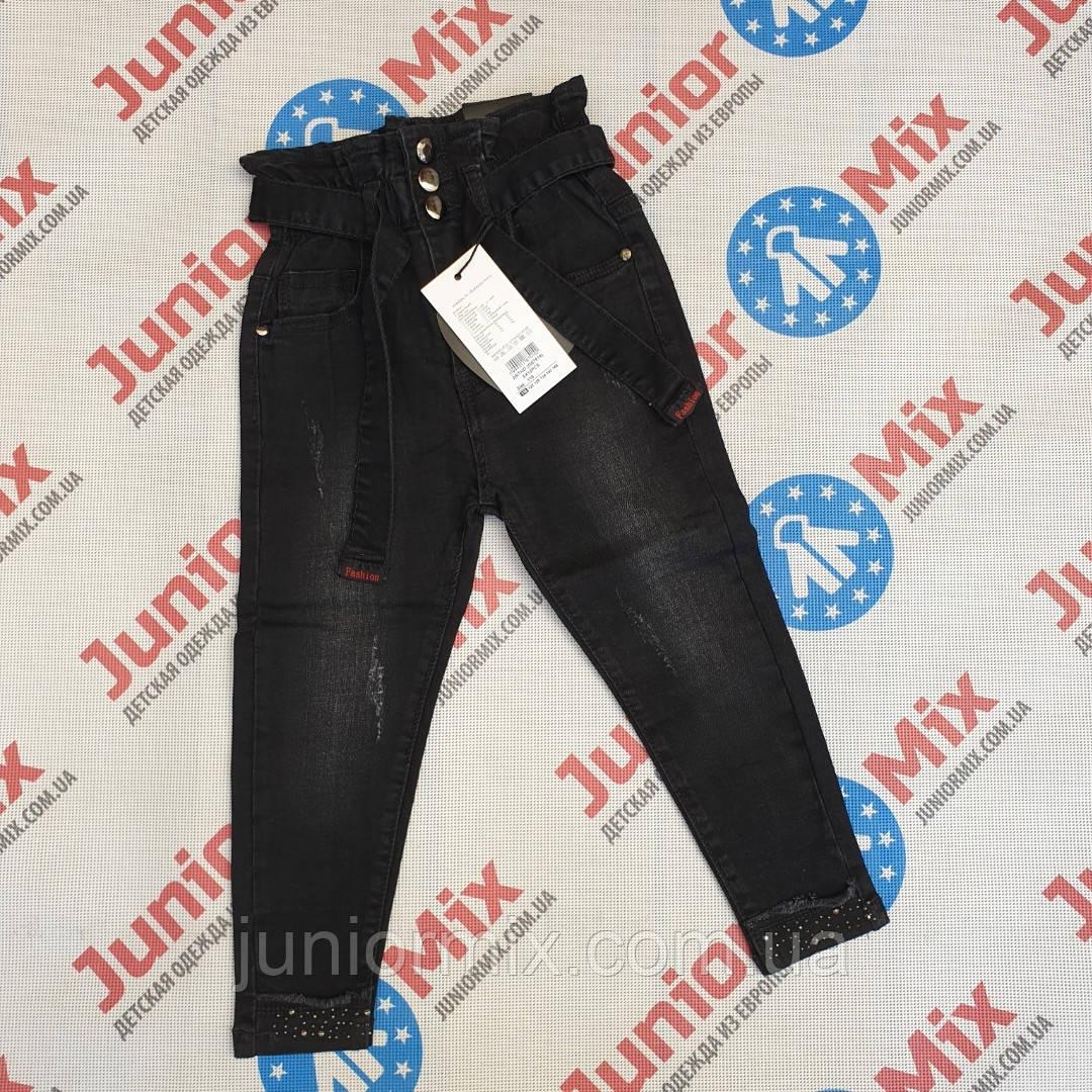 Детские джинсовые брюки черного цвета МОМ  для девочек оптом GRACE 116--146см