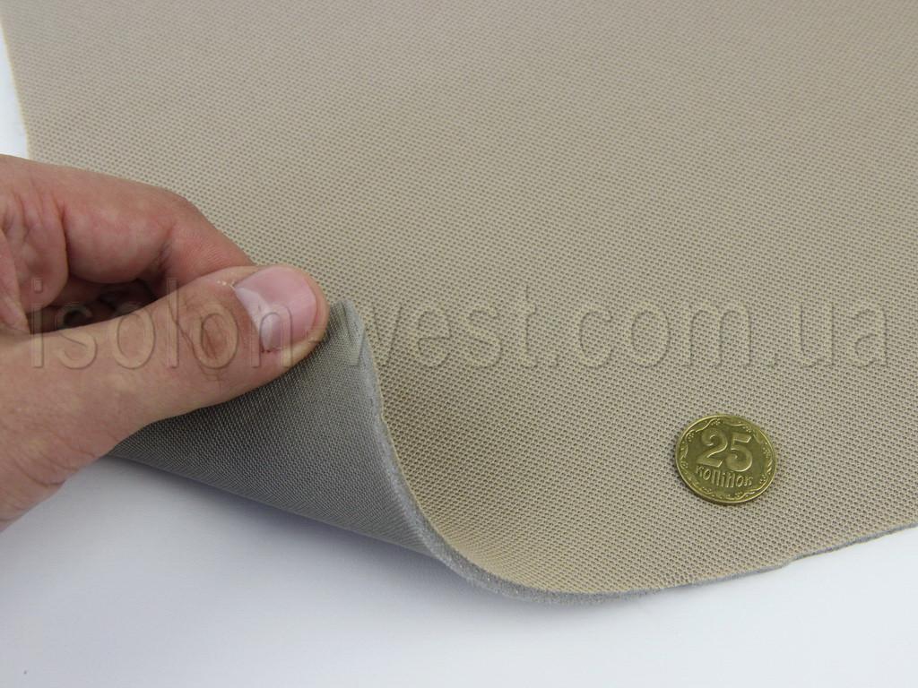 Ткань авто потолочная бежевая (текстура сетка) Lacosta 16107, на поролоне 3 мм с сеткой шир. 1.70м (Турция)