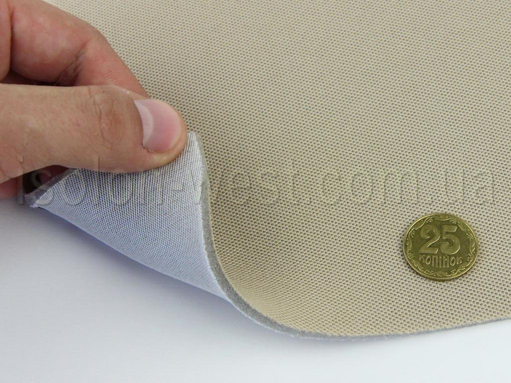 Ткань авто потолочная светло-бежевая (текстура сетка) Lacosta 16753, на поролоне с сеткой шир. 1.70м (Турция)