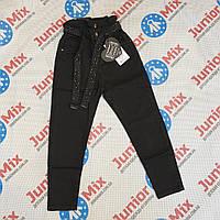 Джинсовые подростковые  черные брюки МОМ  для девочек оптом GRACE 134---164см