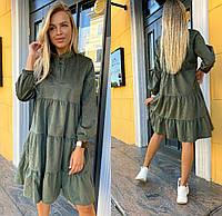 Платье с воротником-стойкой вельветовое женское (ПОШТУЧНО)