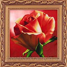 """Набор для рисования камнями 5D (частичная выкладка на холсте) """"Красная роза"""" LasKo"""