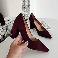 Туфлі бордові жіночі на каблуку екозамша, фото 1