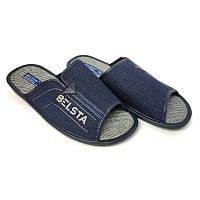 Мужские домашние тапочки Белста комнатные тапочки синие джинс резинка открытые