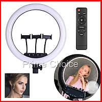 Кольцевая светодиодная LED лампа RING с тремя креплениями для блогера фото видео визажиста. Селфи кольцо 45 см
