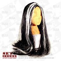 """Черный парик """"Ведьмочка"""" с белыми прядями карнавальный"""