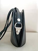 Vera Pelle made in Italy Брендовая женская кожаная сумка черная мягкая через плечо маленькая 2020, фото 4