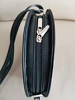 Vera Pelle made in Italy Брендовая женская кожаная сумка черная мягкая через плечо маленькая 2020, фото 5