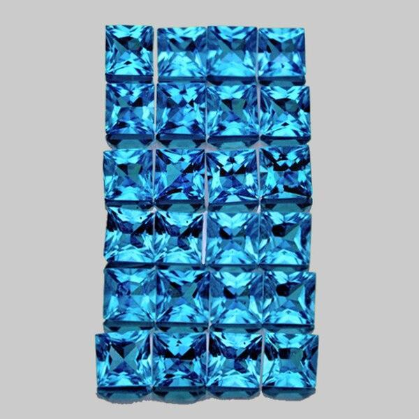 Натуральный голубой топаз 2,8мм квадрат