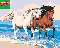 Картина по номерам Пара лошадей (цветной холст) 40*50см Розпис по номерах