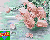 Картина по номерам Букет роз Букет троянд (цветной холст) 40*50см Розпис по номерах