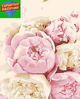 Картина по номерам Розовые и белые пионы (цветной холст) 40*50см Розпис по номерах