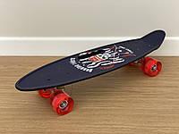 Скейт Пенни борд Penny board, с бесшумными светящимися колесами, с ручкой, Синий Череп