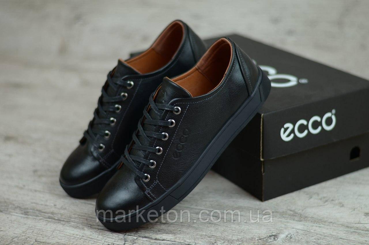 Мужские кожаные кеды Черные Ecco