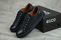 Мужские кожаные кеды Черные Ecco, фото 1