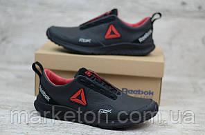 Чоловічі шкіряні кросівки Чорні з червоним Reebok