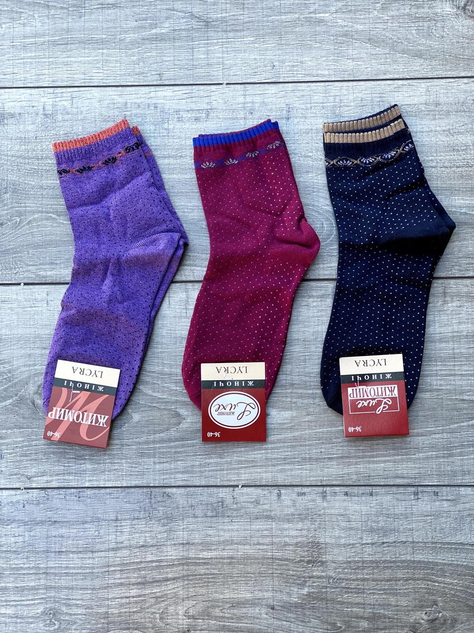 Жіночі носки Люкс Житомир шкарпетки стрейчеві в білий горошок 36-40  12 шт в уп асорті 3-ох кольорів