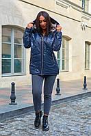 Куртка женские стеганые удлиненная с капюшоном больших размеров, Модная стеганая куртка для женщин больших размеров, фото 3