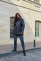 Куртка женские стеганые удлиненная с капюшоном больших размеров, Модная стеганая куртка для женщин больших размеров, фото 4