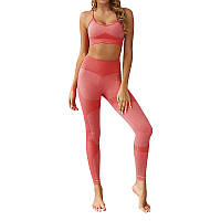 Женский комплект лосины и топ для фитнеса Lesko ZC-1976 Light Pink S для спорта йоги пробежек тренировок