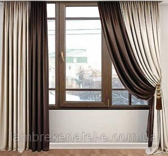 Готовые шторы в зал комплект 3 метра из 2 портьер, тюль - на заказ