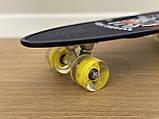 Скейт Пенні борд Penny board, з безшумними світяться колесами, з ручкою, Синій Череп, фото 3