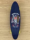 Скейт Пенні борд Penny board, з безшумними світяться колесами, з ручкою, Синій Череп, фото 4