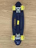 Скейт Пенні борд Penny board, з безшумними світяться колесами, з ручкою, Синій Череп, фото 7