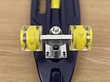 Скейт Пенні борд Penny board, з безшумними світяться колесами, з ручкою, Синій Череп, фото 5