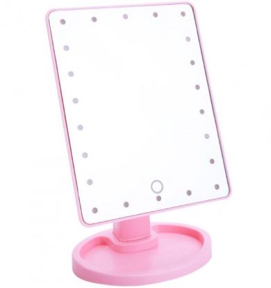 Зеркало для макияжа с LED подсветкой 22 Large LED Mirror Розовое
