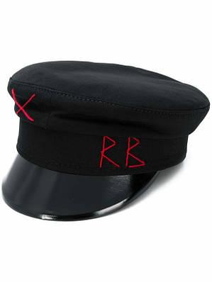 Кеппи картуз капитанка черная с лаковым козырьком RB кепи шерстяное