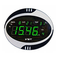 Часы сетевые VST  770 Т-4 говорящие салатовые, настенные пульт Д/У (электронные часы настольные, настенные)