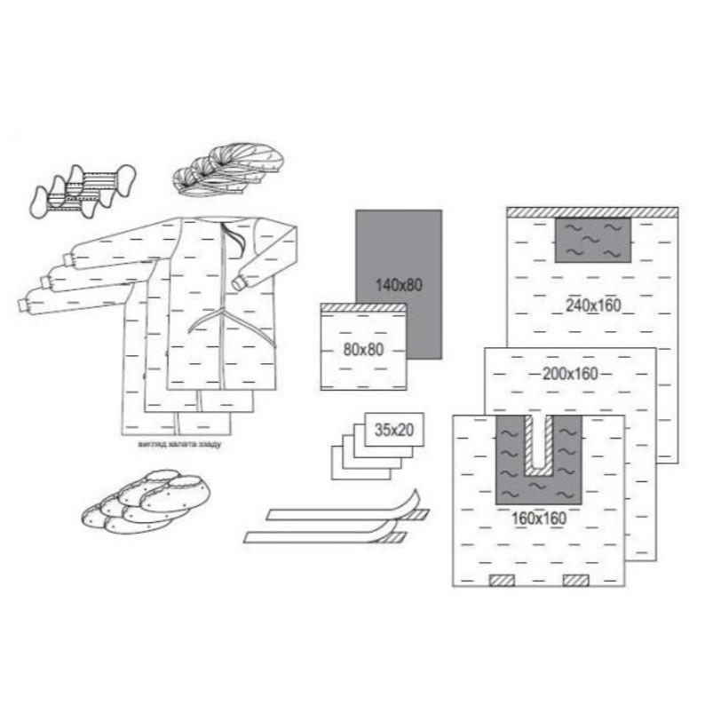 Комплект одежды и покрытий для ЛОР-операций и челюстно-лицевой хирургии № 4 «Славна®» стерильный