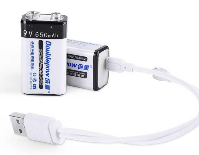 Аккумулятор Крона 6F22 (батарейка) micro USB 650mAh (CR-9V) Li-ion 9V Doublepow