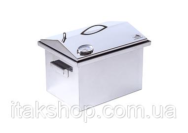 Домашняя коптильня из нержавейки с термометром (400х300х310) крышка Домик