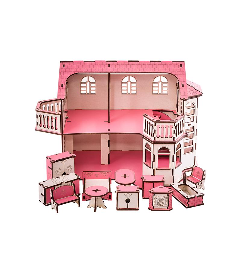 Кукольный дом 57х27х35 с гаражом и подсветкой В014