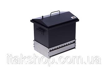 Коптильня двухъярусная для горячего копчения с гидрозатвором 400х300х310 окрашенная из стали, фото 2