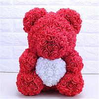 Мишка из роз 40 см в подарочной коробке / Мишка из цветов / Оригинальный подарок девушке
