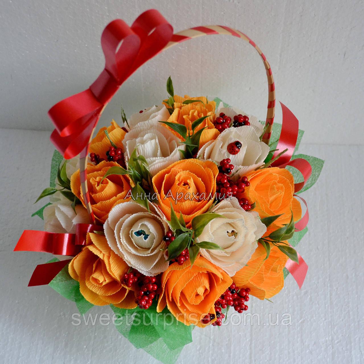 """Корзина с цветами из конфет """"Осенний вальс"""""""