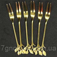 Набор 6 вилок для фруктов Листочек золото