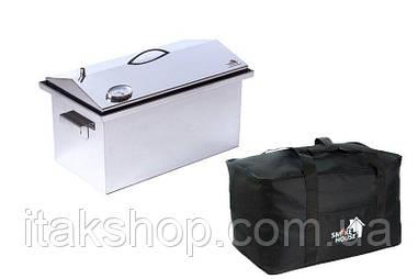 Домашняя коптильня горячего копчения 520х300х310 с термометром и сумкой