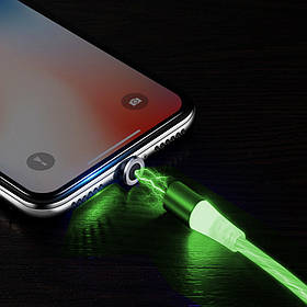 Магнітний зарядний кабель Lightning світиться Зелений